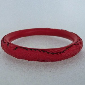 Narrow Cinnabar Bracelet: Red and Black Dragon Pattern--approximately 1/3 inch wide