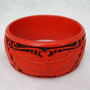 Wide Cinnabar Bracelet: Red and Black Butterfly Pattern--Slightly over 1.25 inches wide