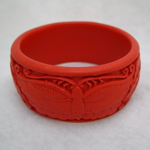 Wide Cinnabar Bracelet: Red Butterfly Pattern--Slightly over 1.25 inches wide