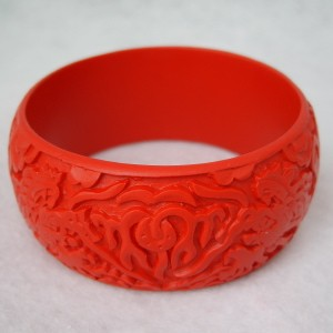 Wide Cinnabar Bracelet: Red Dueling Dragons--1.25 inches wide