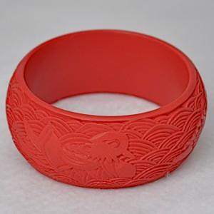 Wide Cinnabar Bracelet: Red Phoenix Swirl Pattern--1.25 inches wide