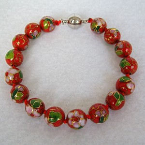 10 mm Cloisonne Bead Bracelet with Magnetic Clasp: Christmas Red
