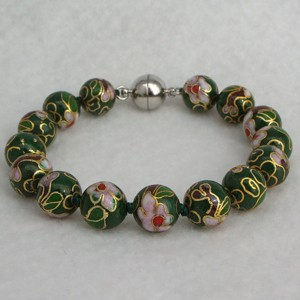 10 mm Cloisonne Bead Bracelet with Magnetic Clasp: Deep Green