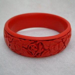 Medium Cinnabar Bracelet: Red Flower and Good Luck Character Pattern--Approximately one inch wide