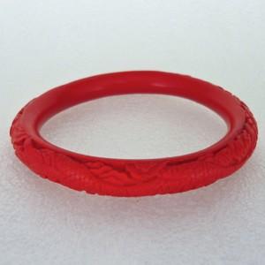 Narrow Cinnabar Bracelet: Red Dragon Pattern--approximately 1/3 inch wide