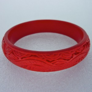 Medium Cinnabar Bracelet: Red Dragon Pattern--Approximately 2/3 inches wide