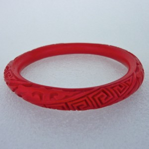 Narrow Cinnabar Bracelet: Red Diagonal Traditional Pattern--approximately 1/3 inch wide