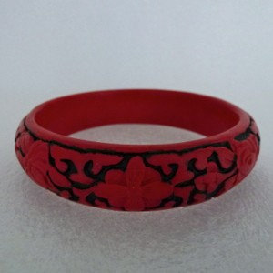 Narrow Cinnabar Bracelet: Red and Black Floral Pattern--Approximately 3/4 inches wide