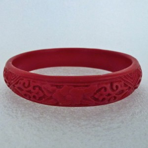 Narrow Cinnabar Bracelet: Red Floral and Geometric Pattern--Approximately 1/2 inch wide