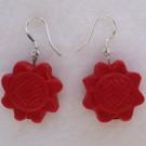 Cinnabar Earrings: Sunflower Cinnabar Beads