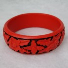 Medium Cinnabar Bracelet: Red and Black Floral Pattern--Slighly less than one inch wide