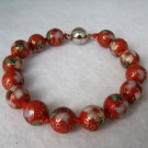 10 mm Cloisonne Bead Bracelet with Magnetic Clasp: Deep Red