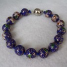 10 mm Cloisonne Bead Bracelet with Magnetic Clasp: Cobalt Blue