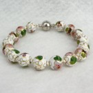 10 mm Cloisonne Bead Bracelet with Magnetic Clasp: White