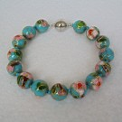 10 mm Cloisonne Bead Bracelet with Magnetic Clasp: Sky Blue