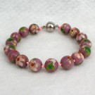 10 mm Cloisonne Bead Bracelet with Magnetic Clasp: Pink