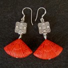 Cinnabar Earrings: Cinnabar Chinese Fan w/ Metallic Butterfly Bead