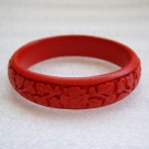Narrow Cinnabar Bracelet: Red Floral Pattern--Approximately 1/2 inch wide