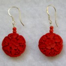 Cinnabar Earrings: Circular Flower Beads