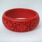 Medium Cinnabar Bracelet: Red Floral Pattern--Approximately  1 inch wide