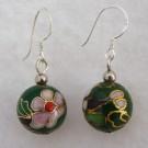 12 mm Cloisonne Bead Earrings: Deep Green
