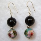 10 mm Cloisonne and Agate Bead Earrings: Sky Blue and Black