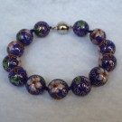 12 mm Cloisonne Bead Bracelet with Magnetic Clasp: Cobalt Blue