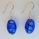 Art Glass Earrings: Cobalt Blue